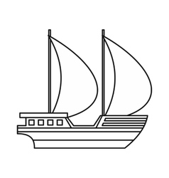Big yacht icon outline style vector image