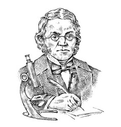 biologist with a microscope elderly scientist vector image
