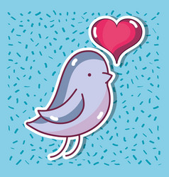bird dove lover with heart design vector image