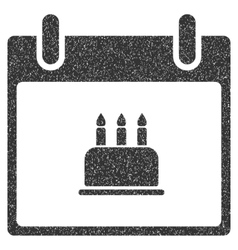 Birthday Cake Calendar Day Grainy Texture Icon vector