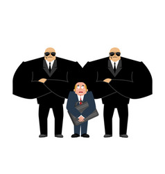 Bodyguard services and businessman with suitcase vector