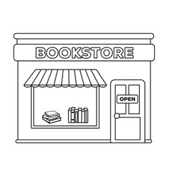 Bookstore icon in outline style isolated on white vector