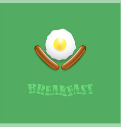 breakfast icon with natural egg and two sausages vector image