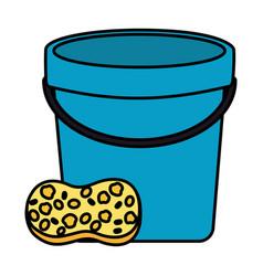 Bucket sponge tool cleaning vector