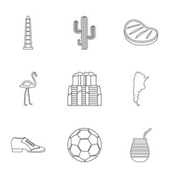 buenos aires travel icons set outline style vector image
