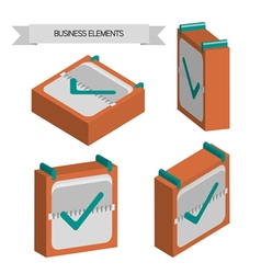 Business elements with 3d check sqaures flat desig vector