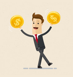 businessman hold golden coins in his hand vector image