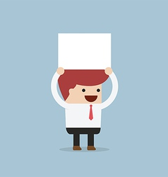 Businessman holding an empty board over his head vector