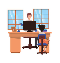 Businessman in office with girl avatar vector