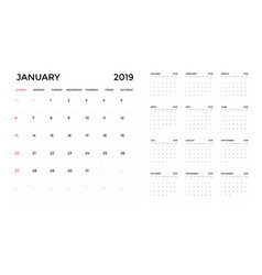 calendar 2019 template calendar planning week vector image