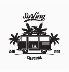 California los angeles surfing typography vector