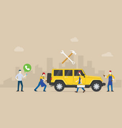 call car service auto mobile with team people of vector image