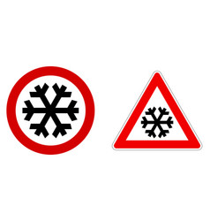 Careful snow cold winter sign black snowflake vector