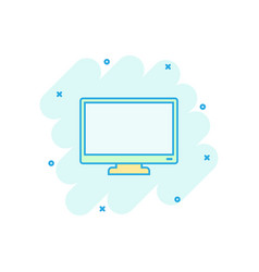 cartoon computer monitor icon in comic style vector image