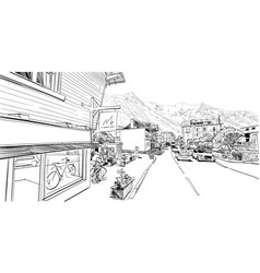 Chamonix mont blanc france hand drawn sketch vector