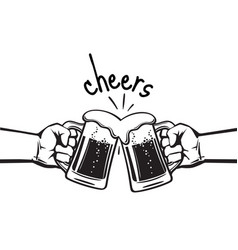 Cheers text two hands toasting beer mugs vector