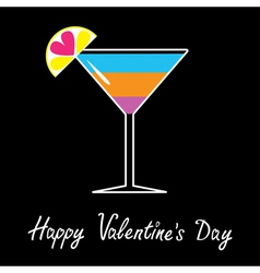 cocktail in martini glass Happy Valentines day vector image