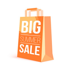 Color paper shopping bag with ad text big summer vector