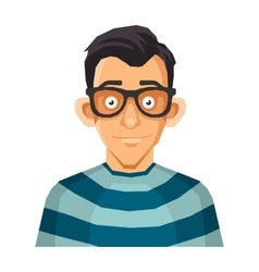 Computer Geek Face in Glasses vector