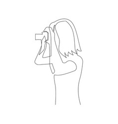 continuous one line woman takes pictures on camera vector image