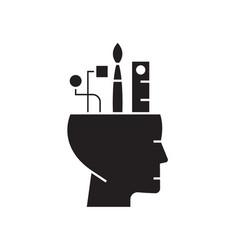 creative thinking black concept icon vector image