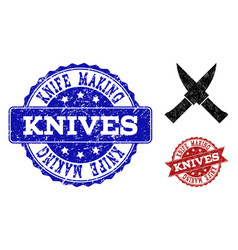 Crossing knives grunge icon and seals vector