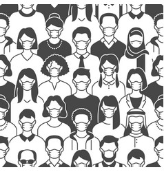 crowd people in face masks seamless pattern vector image