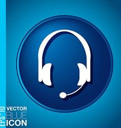 customer support headphone icon vector image
