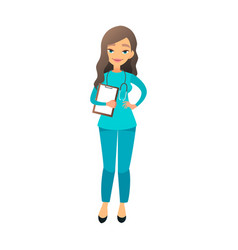 Cute nurse flat cartoon beautiful vector