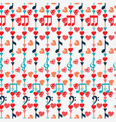 Cute seamless pattern with music notes and hearts vector