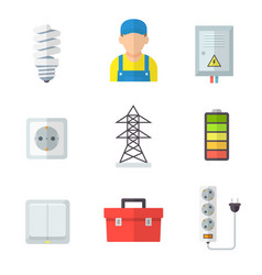 electrician icon set professional service vector image