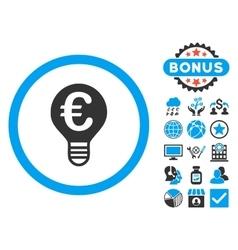 Euro Bulb Flat Icon with Bonus vector image