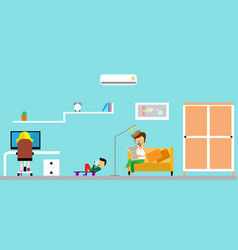 family at home father reading a newspaper vector image