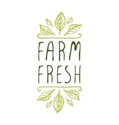 Farm fresh - product label on white background vector image