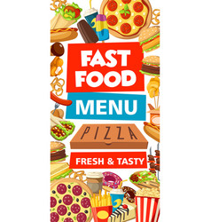 Fast food delivery menu burgers and pizza vector