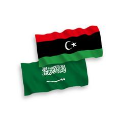 Flags saudi arabia and libya on a white vector