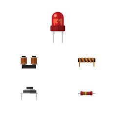 Flat icon appliance set of coil copper resistance vector
