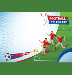 football players in action celebration vector image