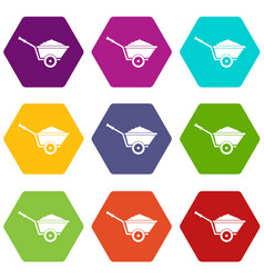 garden wheelbarrow icon set color hexahedron vector image