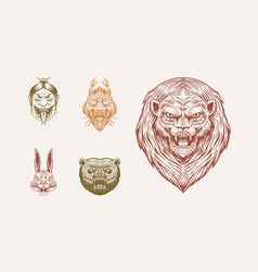 Grizzly bear lion and hare screaming mad leo and vector