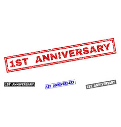 grunge 1st anniversary scratched rectangle vector image