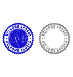 Grunge welcome aboard scratched stamps vector