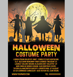 halloween kids costume party in front cemetery vector image