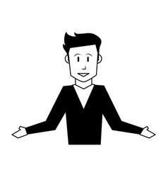 happy man with arms open icon image vector image