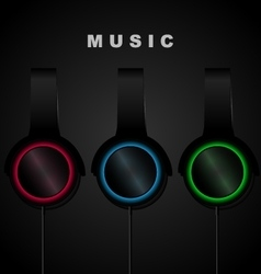 Headphone on black background Music vector image