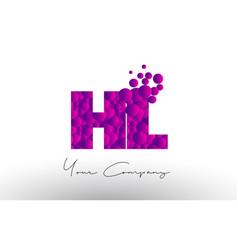Hl h l dots letter logo with purple bubbles vector