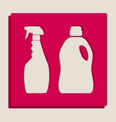 Household chemical bottles sign grayscale vector