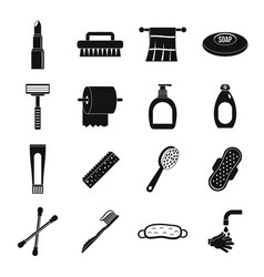 Hygiene tools icons set simple style vector