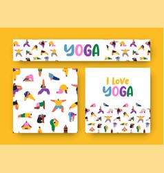 I love yoga pattern banner people cartoon set vector