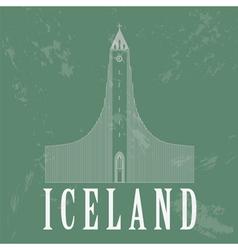 Iceland landmarks Retro styled image vector image